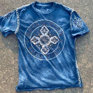 Affliction Live Fast Cut Sew Blue Shirt Mens Small